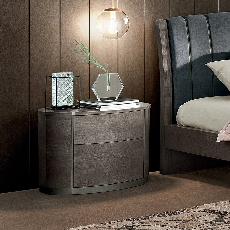 Romeli Silver Birch 2 Drawer Curved Bedside Table
