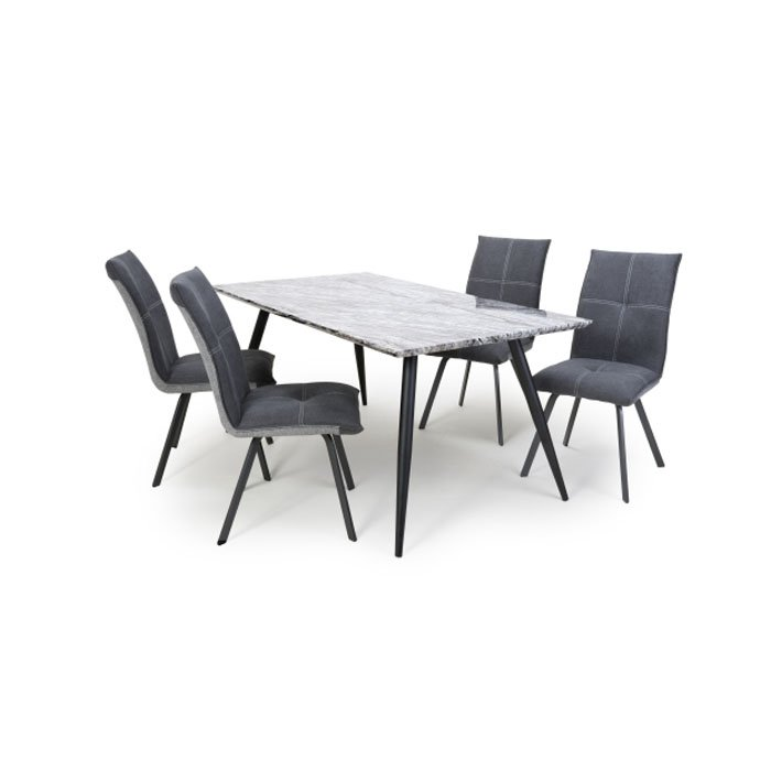 Avril Ardel Grey Marble 5 Piece Dining Table Set - Dark Grey Chairs