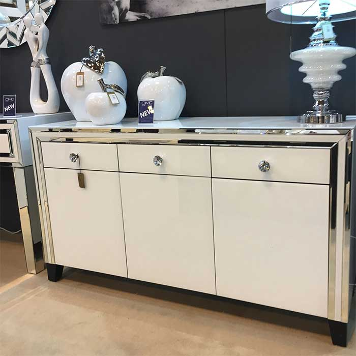 Merrick White Glass & Mirrored Diamante 3 Door 3 Drawer Sideboard