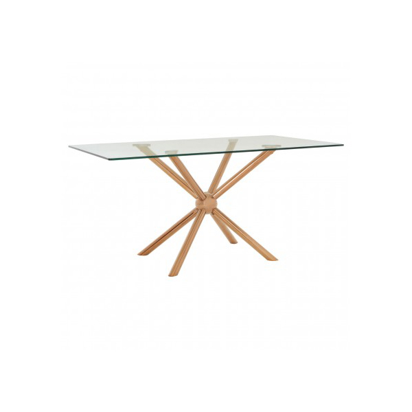 Novo Glass & Rose Gold 1.6m Dining Table