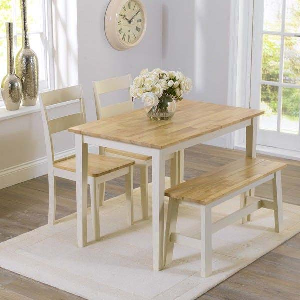 Chichester Oak Cream Painted 4 Piece 1.15m Dining Set
