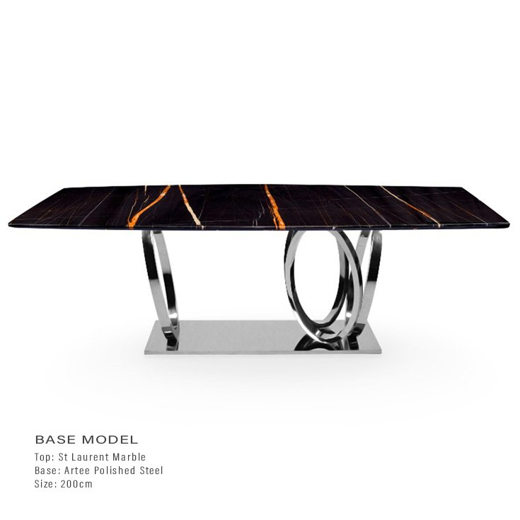 St Laurent Black Marble 2m Dining Table - Artee Chrome Base