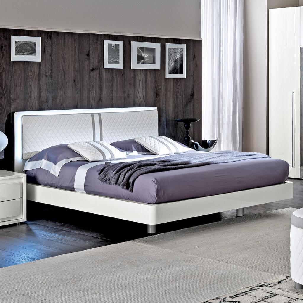 Bianca Rombi White High Gloss & Leather 6ft Bed Frame (Storage Option)