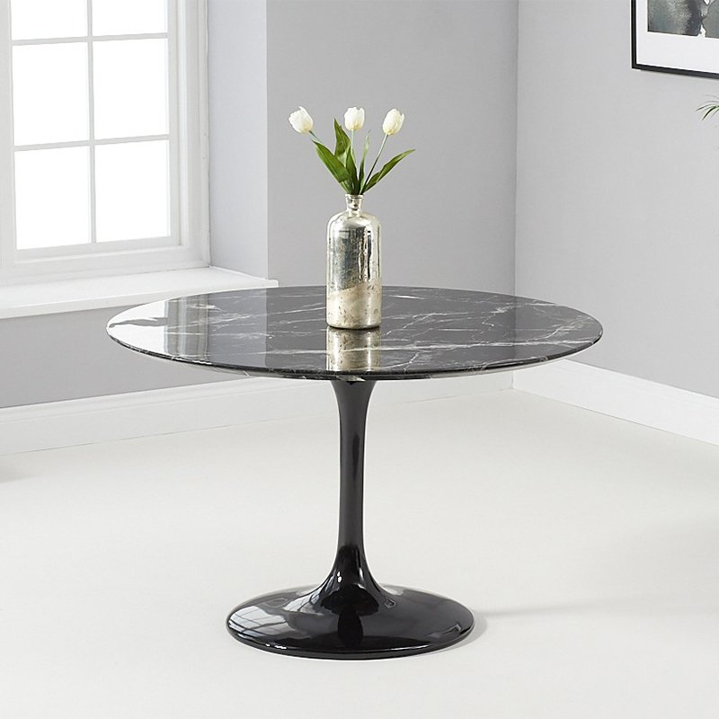 Brittney 1.2m Round Black Marble Dining Table