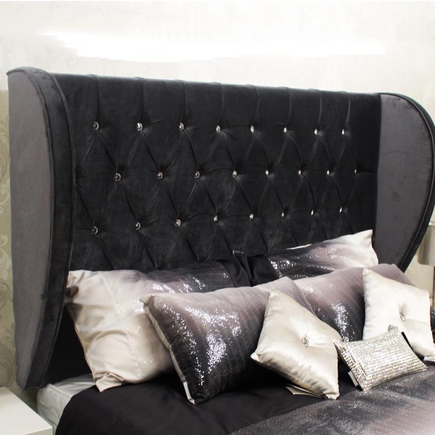 Bespoke Saran Crushed Velvet Curved Headboard (Various Options)