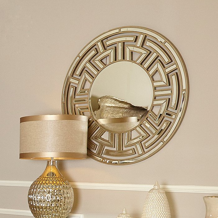 Andreas Champagne Gold Trim Mirrored Round Wall Mirror