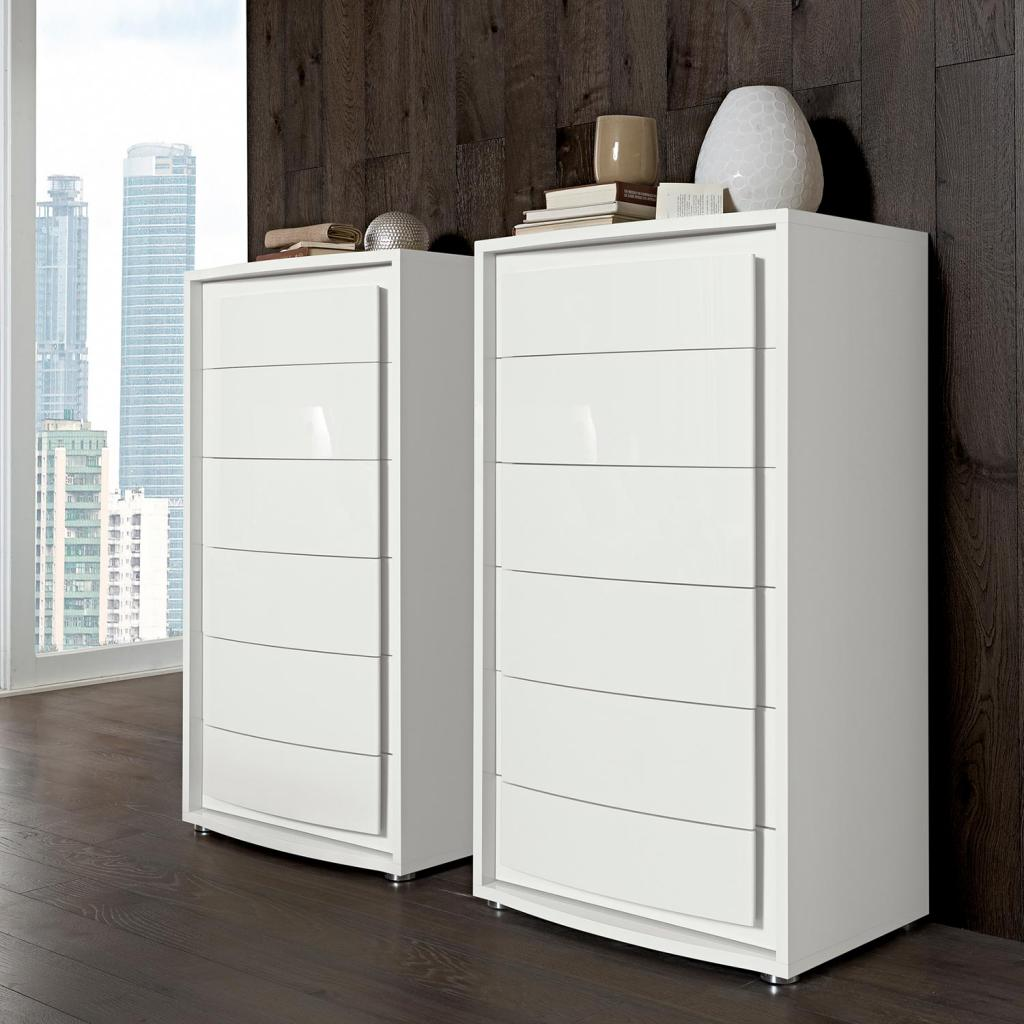 Bianca White High Gloss 6 Drawer Tall Chest of Drawers