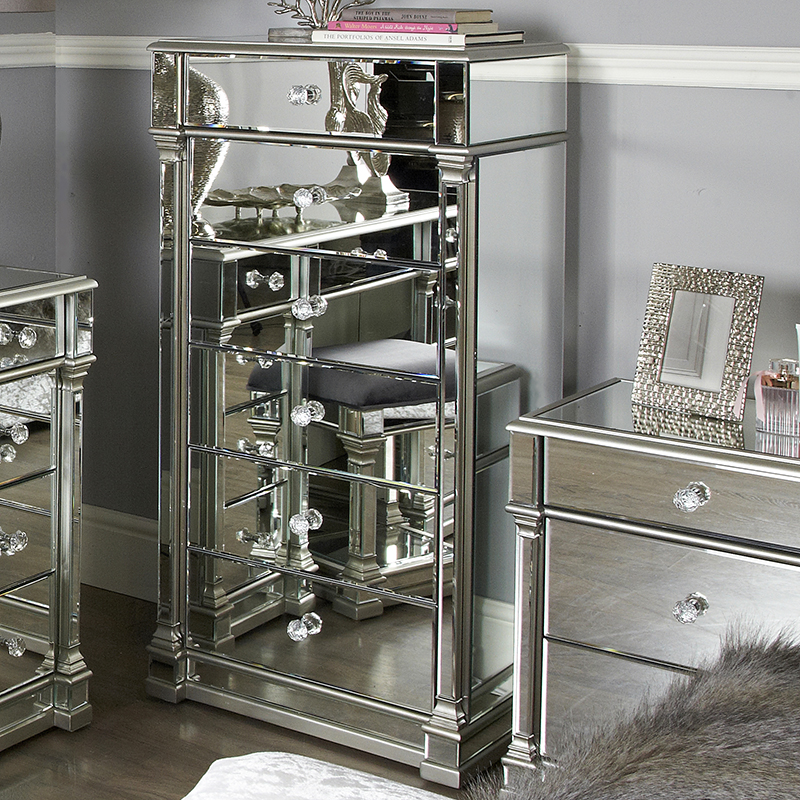 Andreas Silver Trim Mirrored 6 Drawer Tallboy