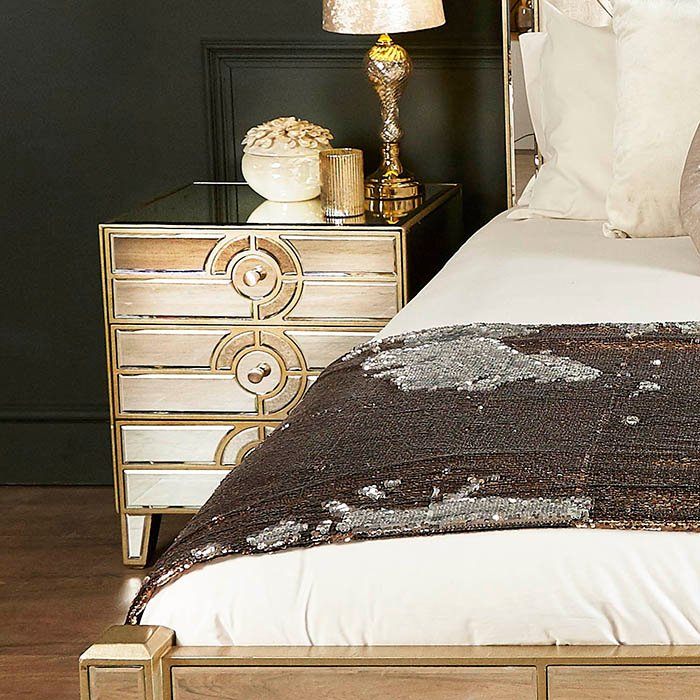 Galaxy Mirrored Champagne Trim 3 Drawer Bedside Table