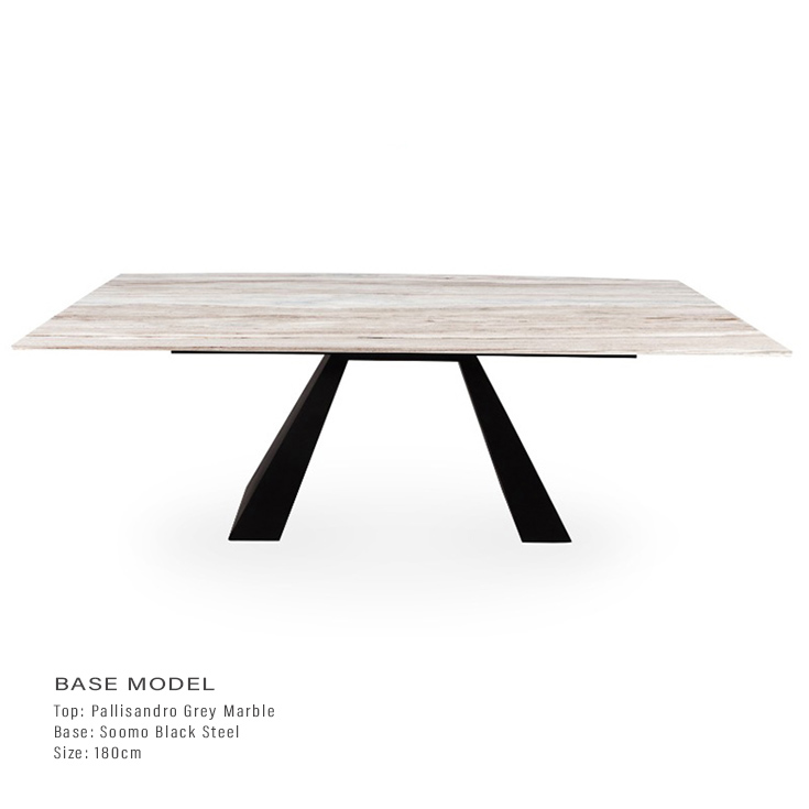 Palissandro Grey Marble 1.8m Dining Table - Soomo Black Steel Base