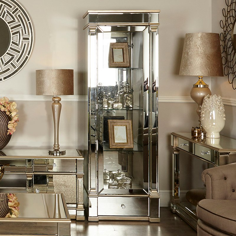 Andreas Champagne Gold Trim Mirrored 1 Door Display Cabinet - left side opening