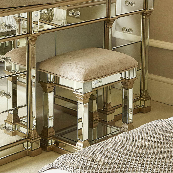 Andreas Champagne Gold Trim Mirrored Dressing Table Stool