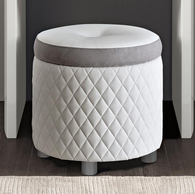 Bianca White Stitched Eco Leather Dressing Table Stool