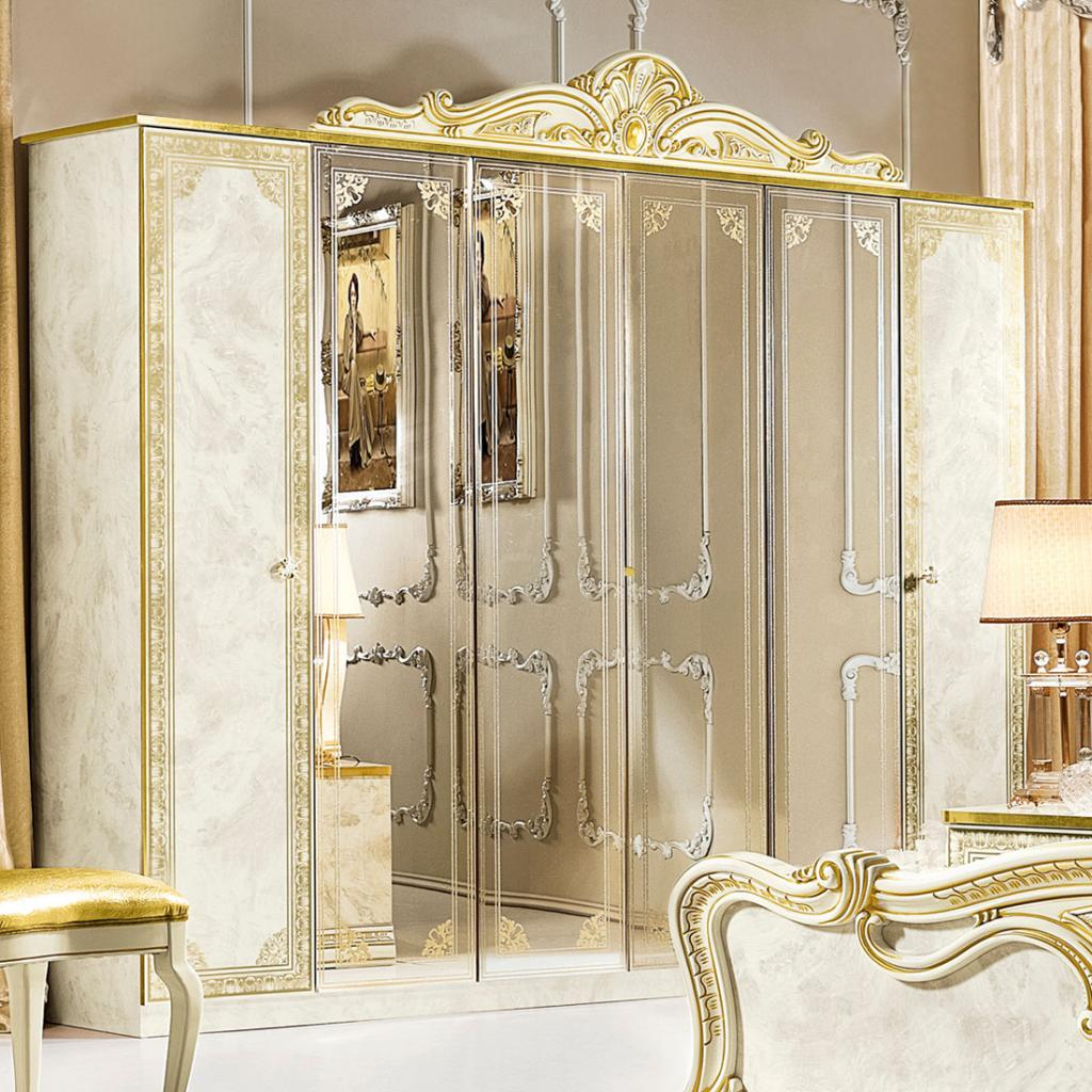 Varazze Ivory High Gloss & Gold Leaf 6dr Mirrored Wardrobe