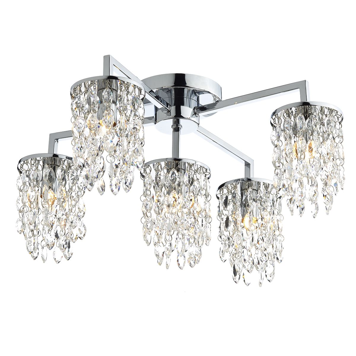 Niagra 5 Bulb Polished Chrome Clear Crystal Flush Ceiling Light