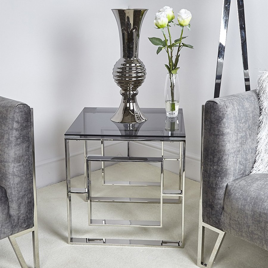 Apex Stainless Steel & Smoked Glass Lamp Table