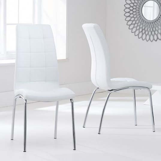 California White Faux Leather Dining Chair