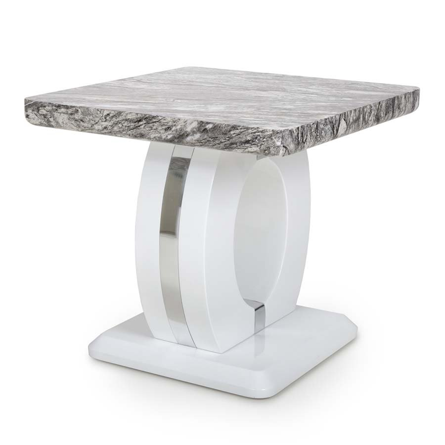Nepal Grey Marble & White High Gloss Square Lamp Table