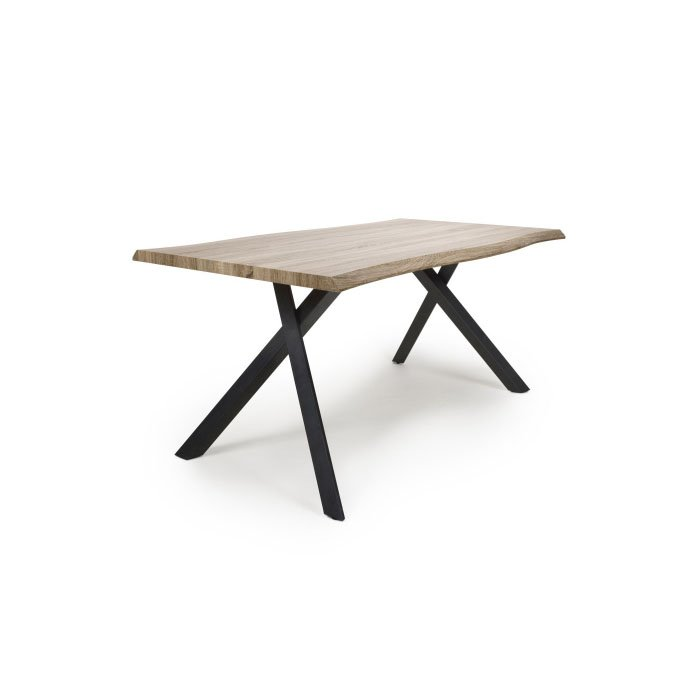 Neburn Curved Oak 1.6m Industrial Dining Table