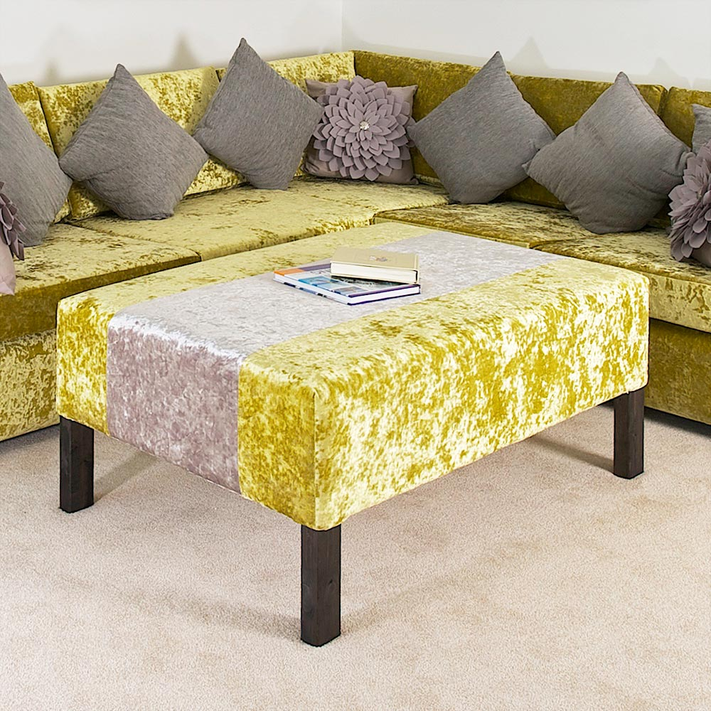 Bespoke Chartreuse Crushed Velvet Large Footstool 1.2m x 1m