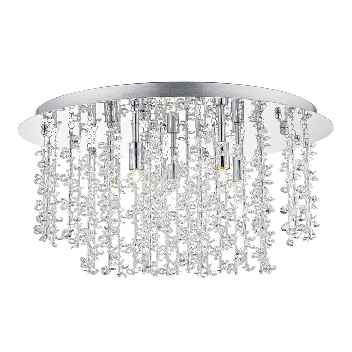Sestina 5 Bulb Decorative Rod & Crystal Bead Flush Ceiling Light