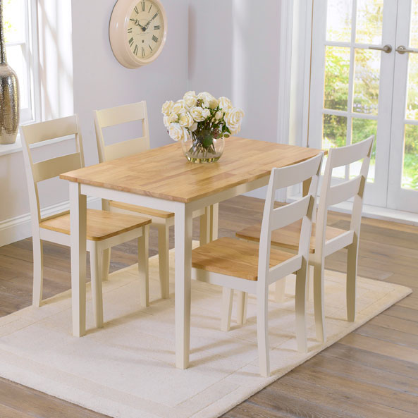 Chichester Oak Cream Painted 5 Piece 1.15m Dining Set