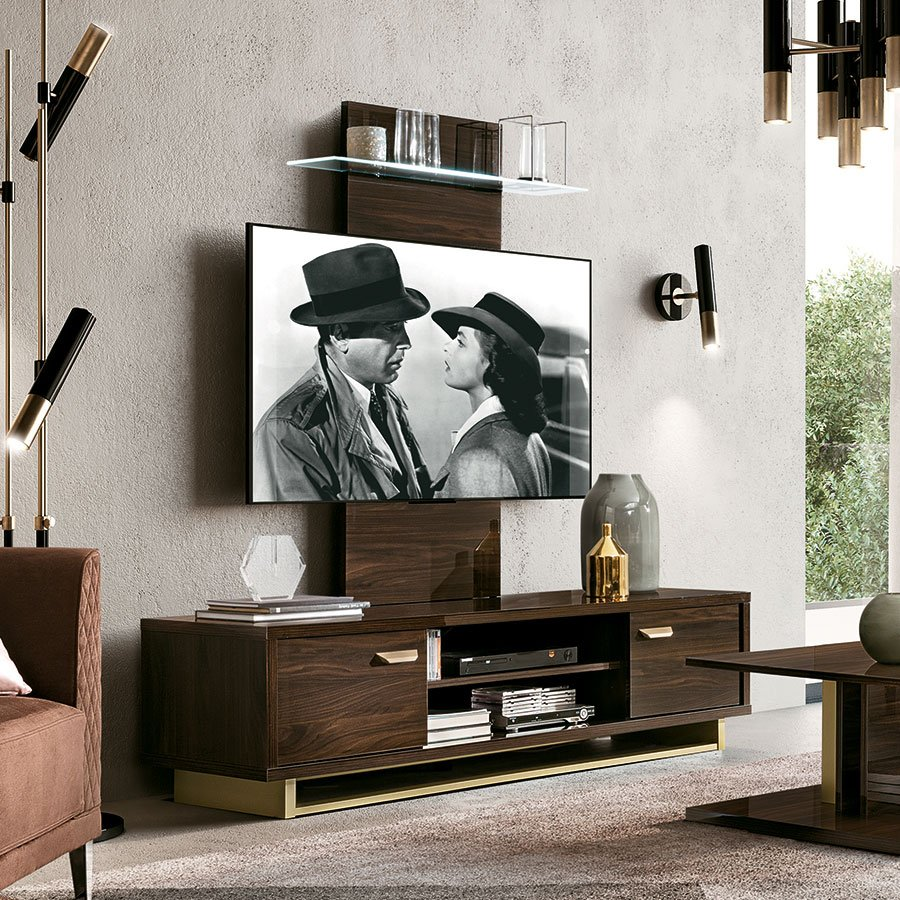 Florentina Walnut & Gold 2 Door TV Unit (with LED wall panel)