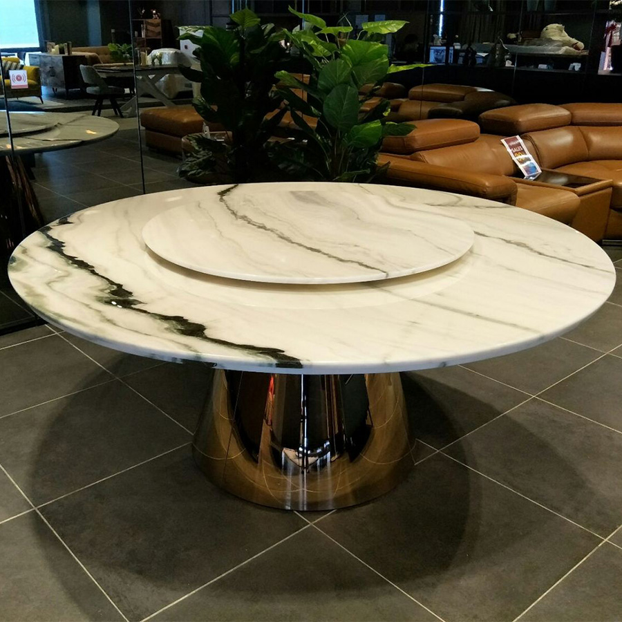 Panda White Marble 1.5m Lazy Susan Dining Table - Solomon Gold Base