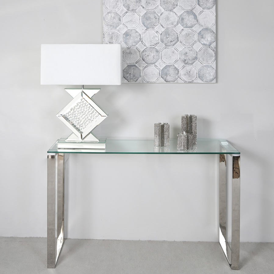 Harley Glass & Silver Trim Console Table