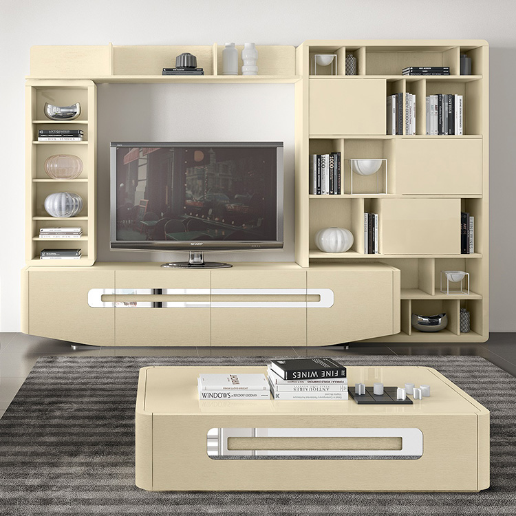 Madrid Chrome & High Gloss or Wood Veneer TV Unit