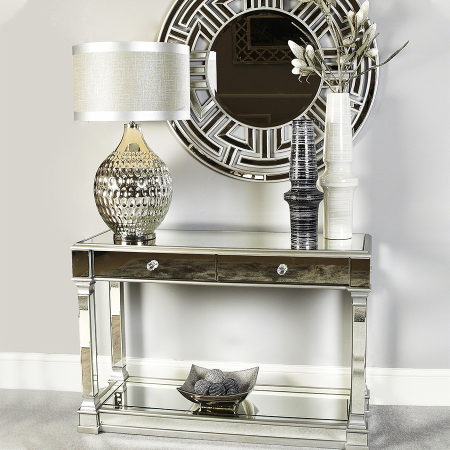 Andreas Glass Mirrored Console Table