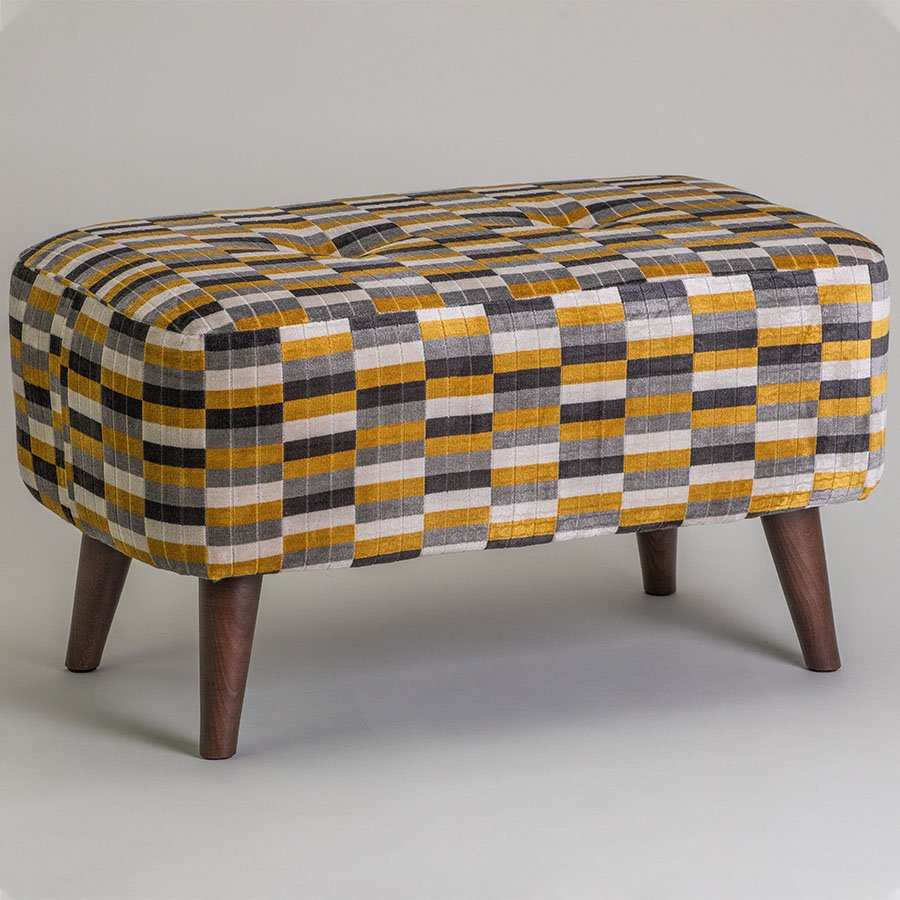 Vogue Ringo Small District Gold Upholstered Feature Footstool