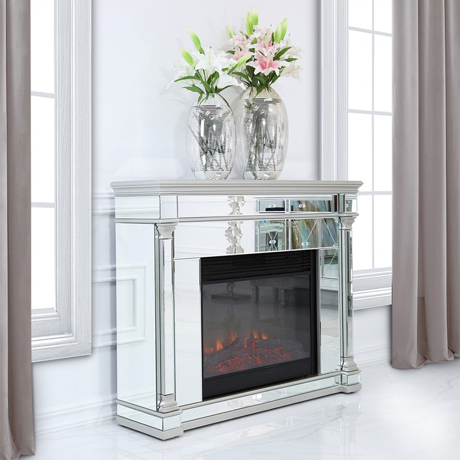 Andreas Mirrored Glass Fireplace
