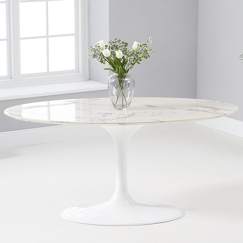 Brittney 1.6m Oval White Marble Dining Table