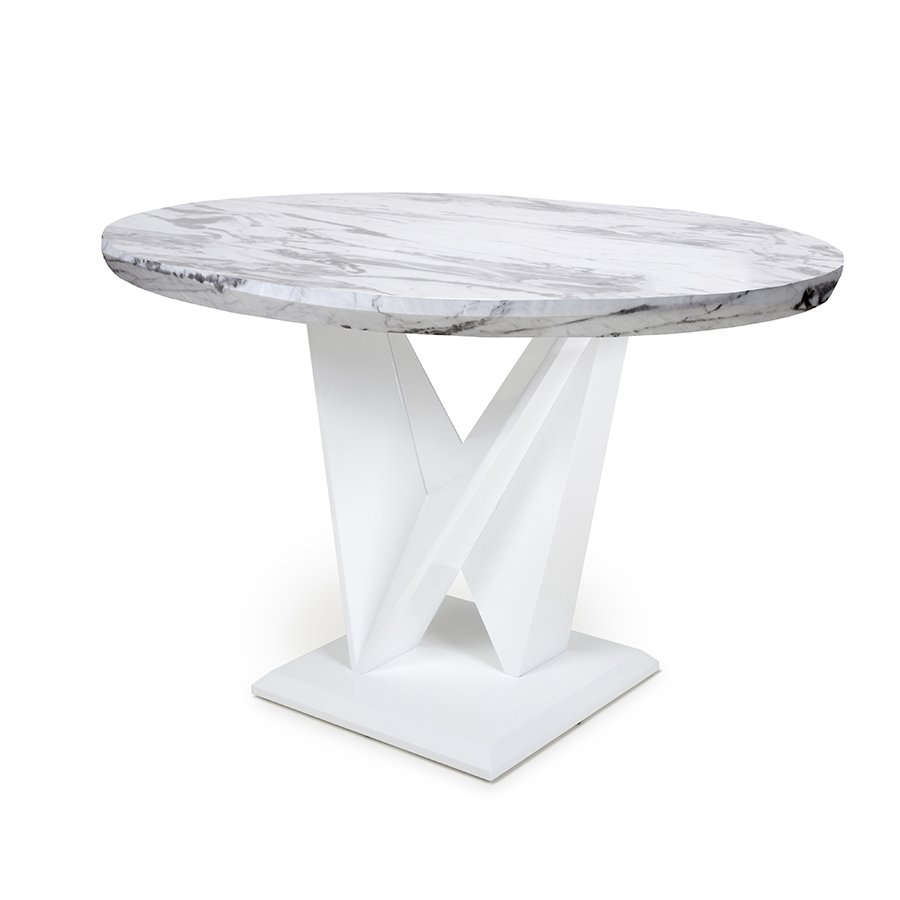 Serena Round Marble Effect Top 1m Dining Table