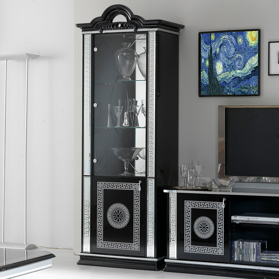 Vittorio Black & Silver High Gloss 1 Door Display Cabinet