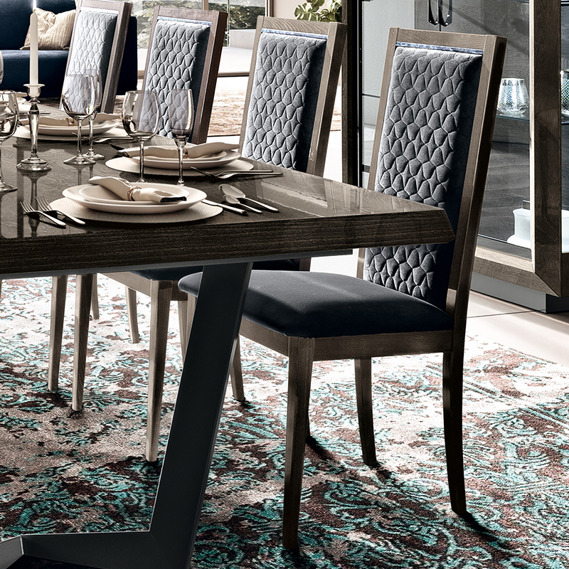 Elisio ROMBI Silver Birch Grey Upholstered Dining Chair