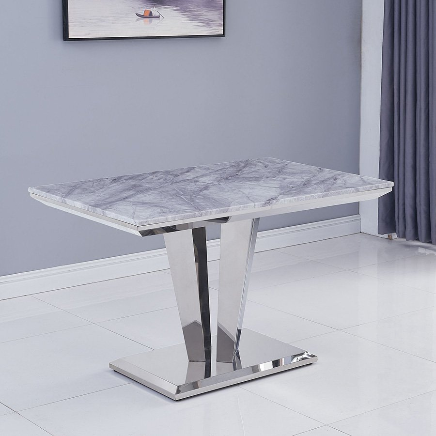 Riccardo Grey Marble & Chrome 1.2m Rectangular Dining Table