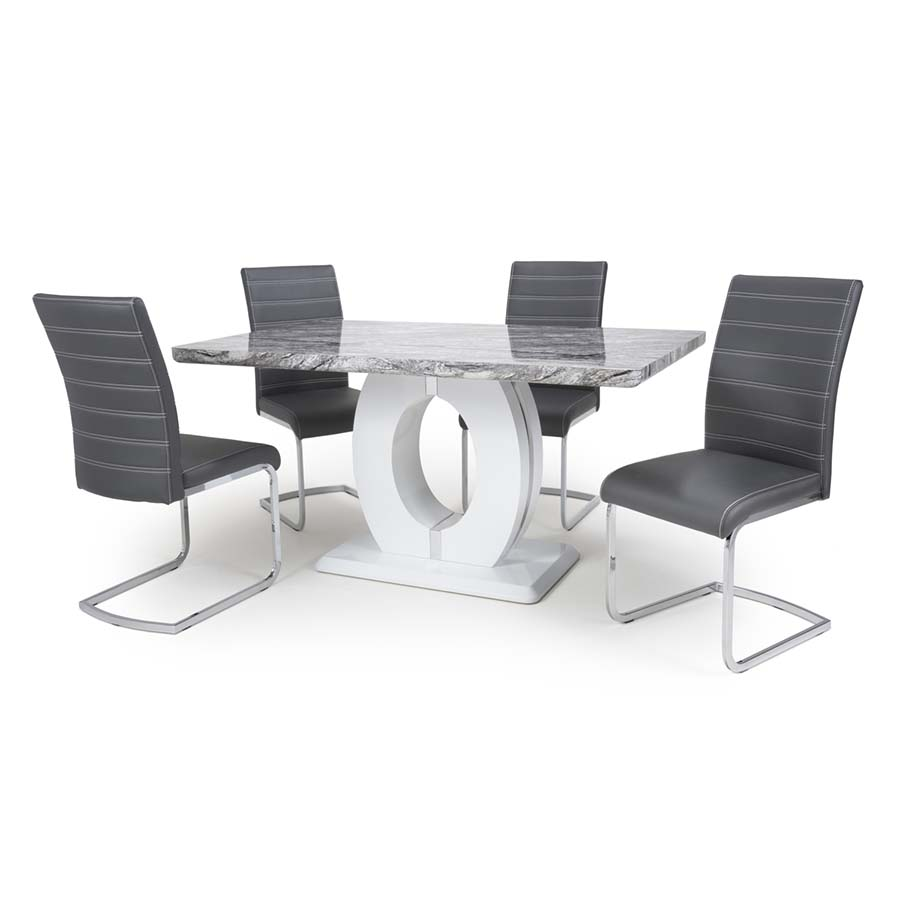Nepal Carlton Grey Marble & White High Gloss 1.5m 5 Piece Dining Set