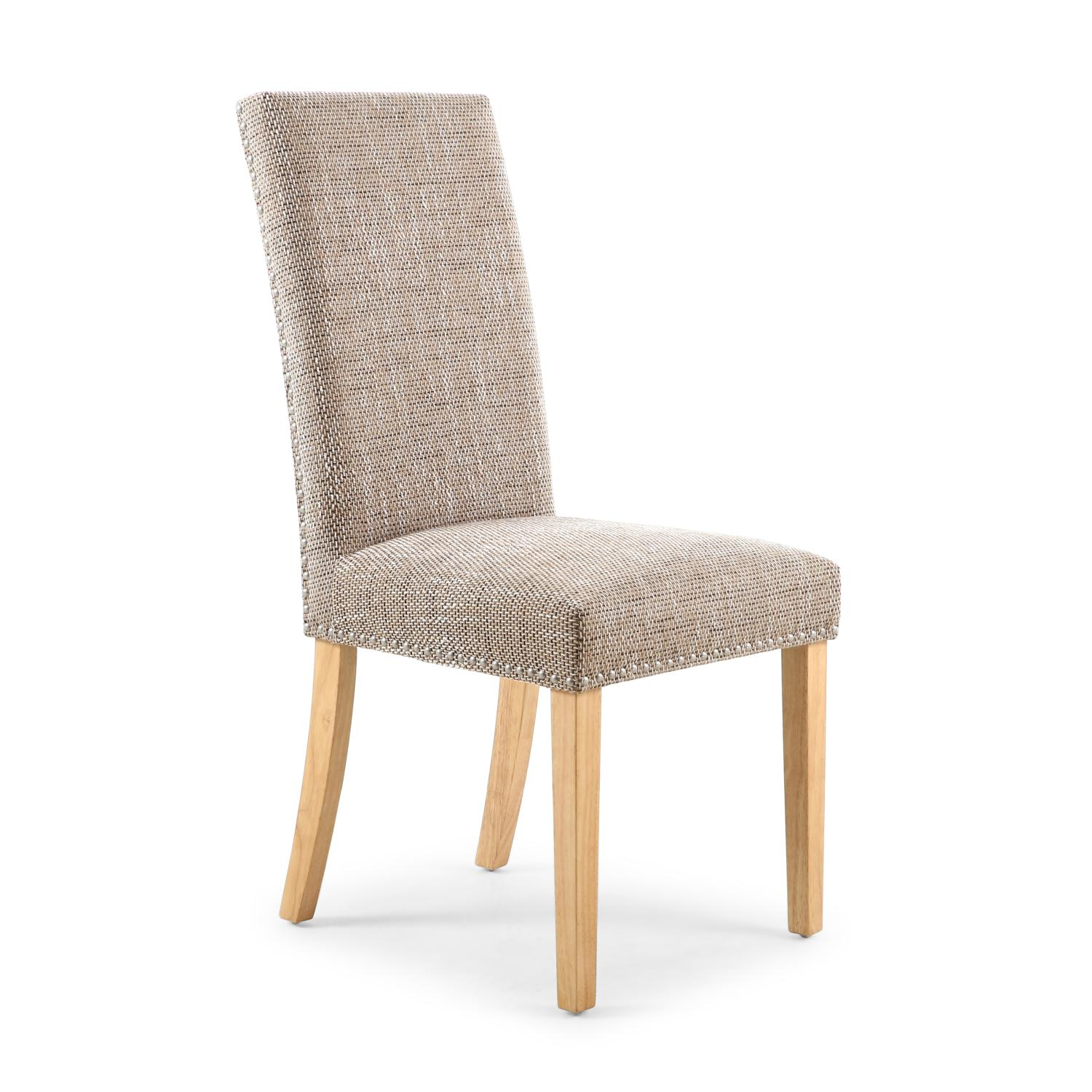 Reed Oatmeal Tweed Studded Dining Chair (Natural Legs)