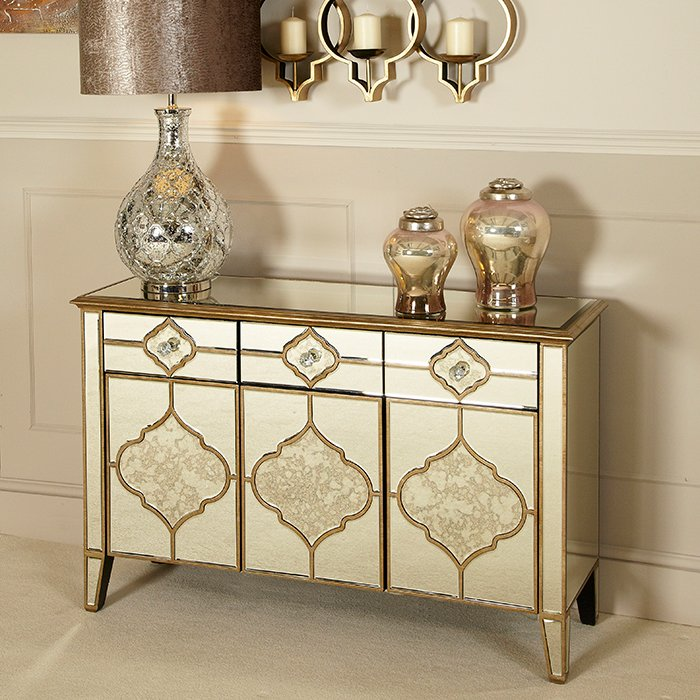 Mackenzie Mirrored Antique Trim Small 3 Drawer 3 Door Sideboard