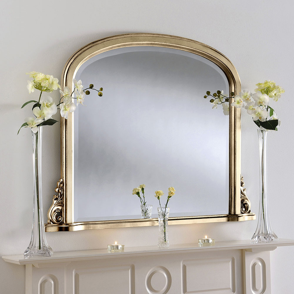 Gold Over Mantle Curved Mirror (various colours)