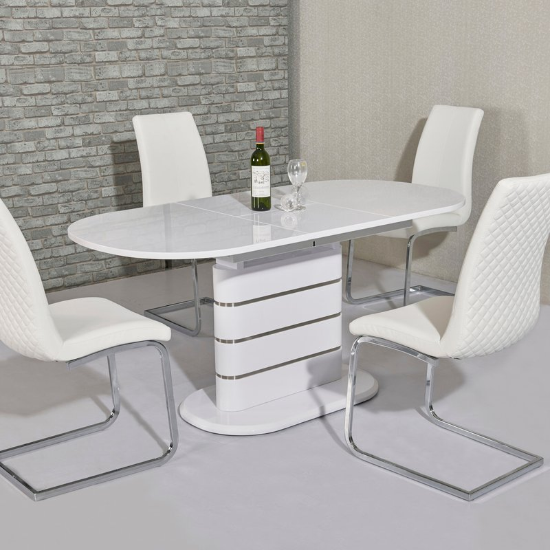Thalia White Gloss 1.6m-2m Extending Dining Table
