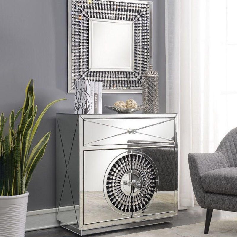 Crawford 2 Door 1 Drawer Mirrored Crystal Sideboard With Square Mirror