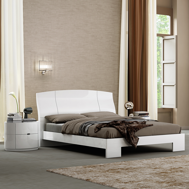Logan White High Gloss Double Bed With Headboard
