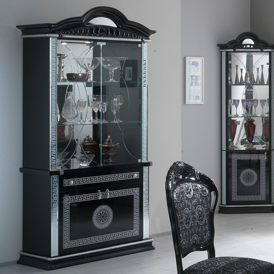 Vittorio Black & Silver High Gloss 2 Door Display Cabinet