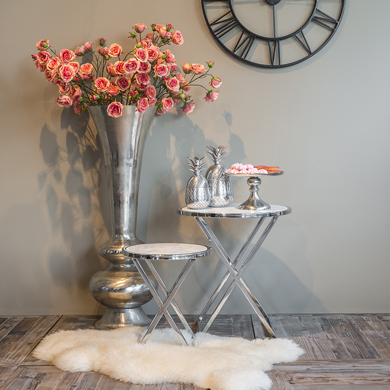 Coles White Marble & Chrome Cross Leg Small Round Side Table