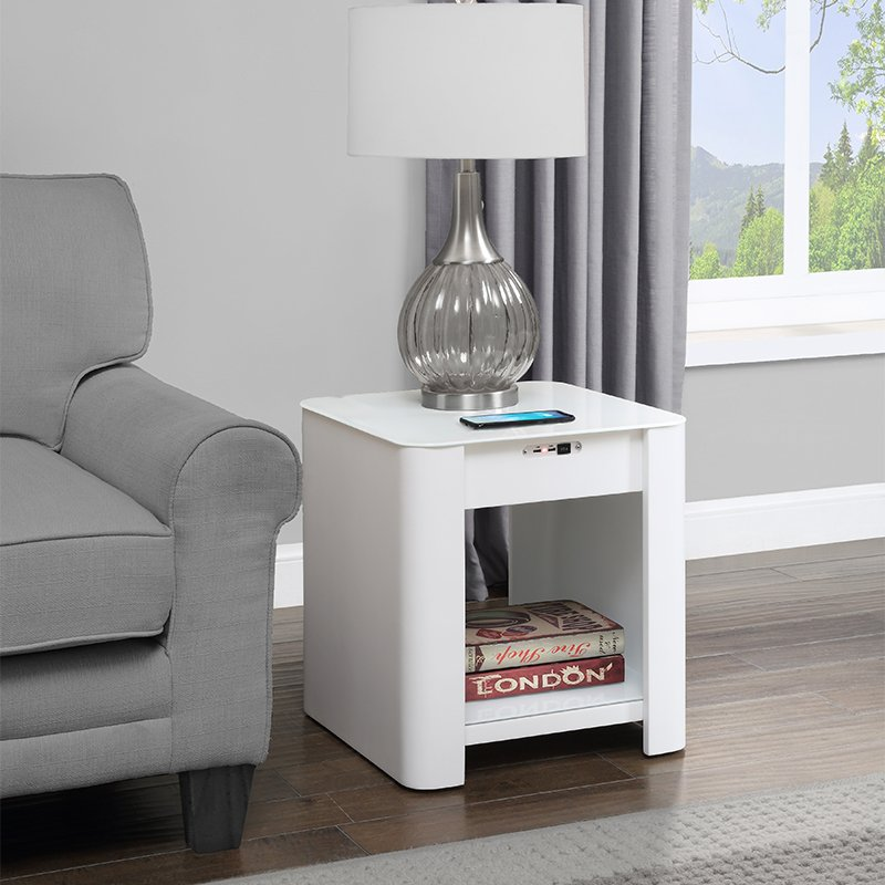 San Francisco White Gloss Smart Bedside Table With SPEAKERS, Wireless Charger & Light