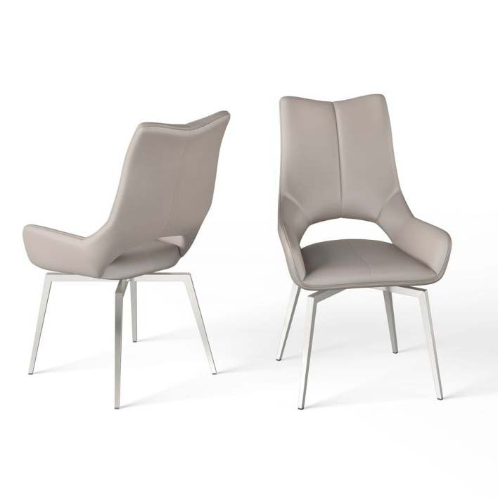 Spinello Taupe Faux Leather Swivel Dining Chair