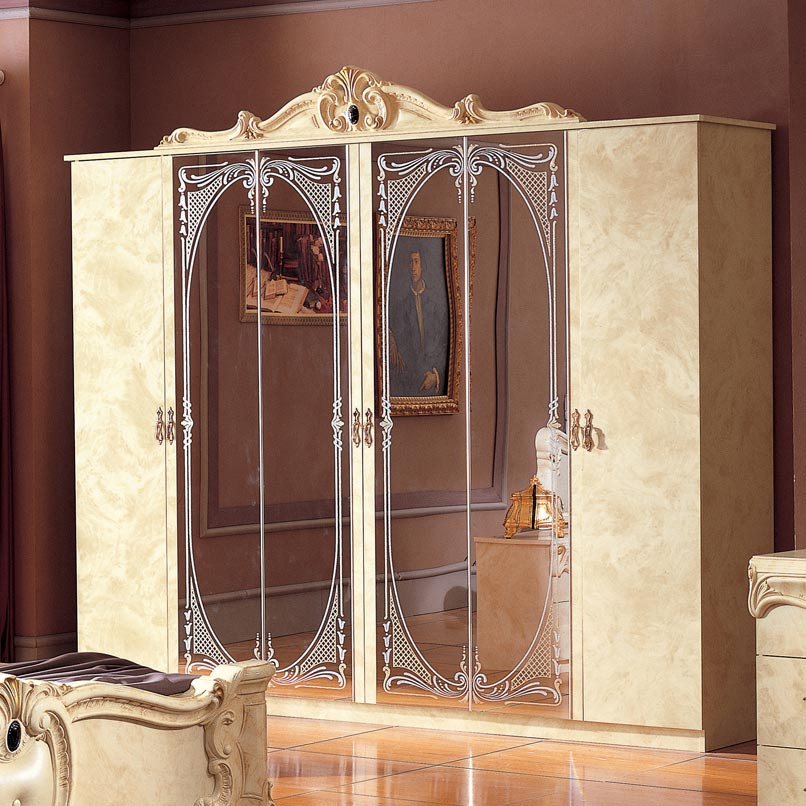 Bellissima Black High Gloss & Gold or Silver 6dr Mirrored Wardrobe